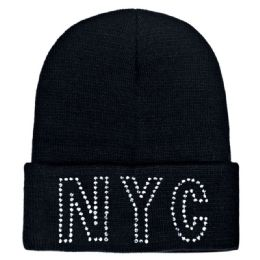 48 Units of Knitted Hat NYC With Rhinestone's - Winter Beanie Hats