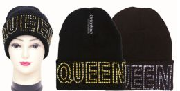 48 Units of Knit Hat QUEEN With Rhinestone - Winter Beanie Hats
