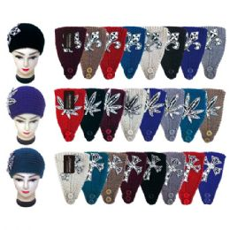 48 Units of Knit Head Band With Flower - Ear Warmers