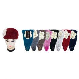 48 Units of Assorted Color Knit Head Band With White Flower - Ear Warmers