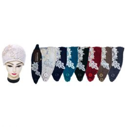 48 Units of Assorted Color Knit Head Band With Flower - Ear Warmers