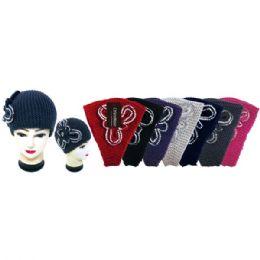 48 Units of Knit Head Band With Rhinestone Flower - Ear Warmers