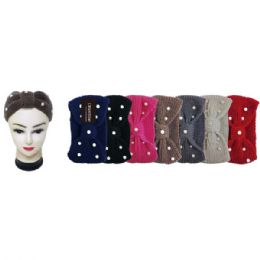 48 Units of Knit Head Band With Rhinestones - Ear Warmers