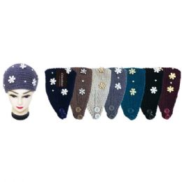 48 Units of Knit Head Band With Flowers - Ear Warmers