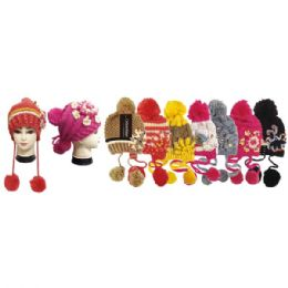 36 Units of Women's Fashion Knitted Hat With Pom Poms - Fashion Winter Hats
