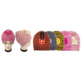 48 Units of Lady's Knit Hat In Assorted Colors With Flower - Winter Beanie Hats