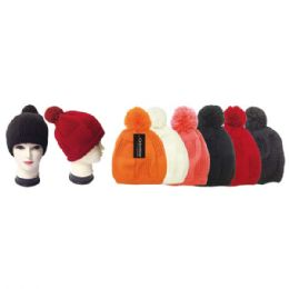 48 Units of Lady's Knit Hat With Pom Pom - Fashion Winter Hats