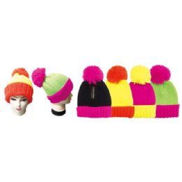 24 Units of Lady's Knit Hat Neon - Winter Beanie Hats