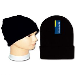 96 Units of Men's knit hat / Black - Winter Beanie Hats