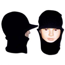 96 Units of Men's Knit Hat Black - Winter Helmet Hats