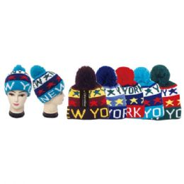 48 Units of Teen winter knit hat NY - Winter Beanie Hats