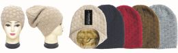 24 Units of Unisex knit hat fleece lined - Winter Beanie Hats