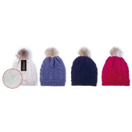 24 Units of Winter knit hat Assorted with Pom Pom - Winter Beanie Hats