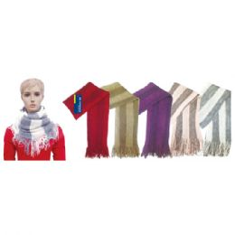 48 Units of Knit Infinity Scarf Assorted Colors Stripe - Winter Scarves