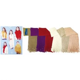 36 Units of Lady's infinity scarf With Fringes In Assorted Colors - Winter Scarves