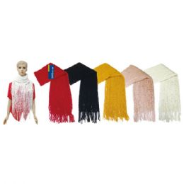 24 Units of Lady's infinity scarf With Fringes In Assorted Colors - Winter Scarves