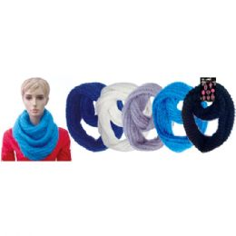 24 Units of Lady's infinity scarf In Assorted Solid Colors - Winter Scarves