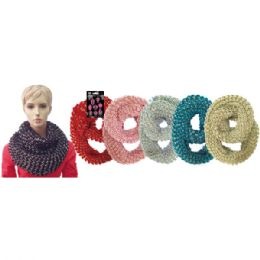 12 Units of Lady's infinity scarf In Assorted Solid Colors - Winter Scarves