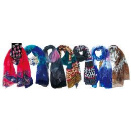 48 Units of Women's Fashion Light Weight Scarf Assorted Prints - Winter Scarves