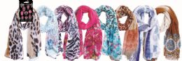 48 Units of Women's Fashion Light Weight Scarf Assorted Prints - Womens Fashion Scarves