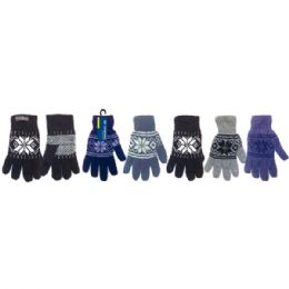 72 Units of Knit gloves/snowflake double layer - Knitted Stretch Gloves