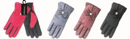 48 Units of Lady's Gloves With Bow - Knitted Stretch Gloves