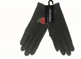 72 Units of Women's Touch Screen Gloves With Flower - Knitted Stretch Gloves