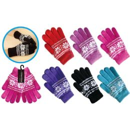 72 Units of Lady's Knit Gloves Snow Flake Design - Knitted Stretch Gloves