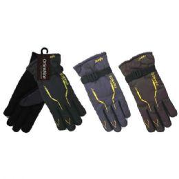 48 Units of Men's Water Resistant Winter Fleece Lined Glove - Ski Gloves