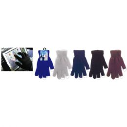 72 Units of Touch Gloves Assorted Colors - Knitted Stretch Gloves
