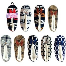 72 Units of Lady's fuzzy slippers size 7/8-9/11 - Womens Slippers