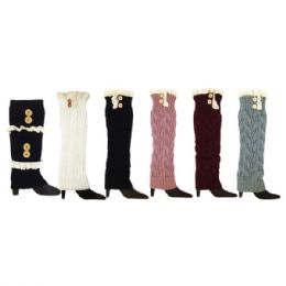 48 Units of Leg warmers Assorted Colors With Button - Womens Leg Warmers