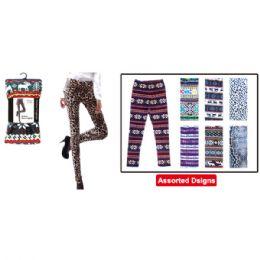 48 Units of Furlined fleece leggings assorted design S/M L/XL mix - Womens Leggings