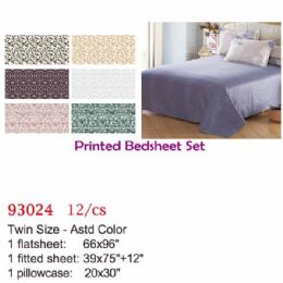 12 Units of Printed bed sheet set/Twin - Comforters & Bed Sets