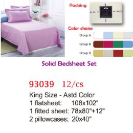 12 Units of Solid Bed Sheet Set King - Comforters & Bed Sets