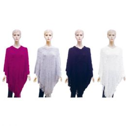 12 Units of Lady's cloak assorted Colors - Winter Pashminas and Ponchos