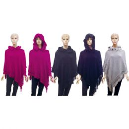 12 Units of Lady's Hooded Knit Cloak - Winter Pashminas and Ponchos