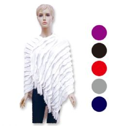 12 Units of Lady's Knit Cloak In Assorted Colors - Winter Pashminas and Ponchos
