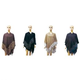 12 Units of Lady's woolen cloak Assorted Colors - Winter Pashminas and Ponchos