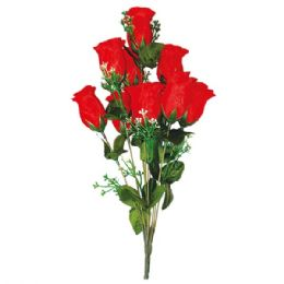 96 Units of Ten Heads Rose Red - Artificial Flowers