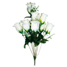 96 Units of Ten Heads Rose White - Artificial Flowers