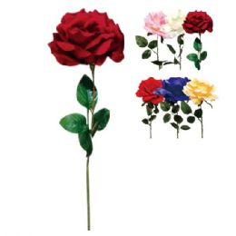 144 Units of Twenty Eight Inch Rose Assorted Colors - Valentine Decorations