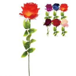 144 Units of Thirty Two Inch Rose With Glitter Assorted Colors - Artificial Flowers