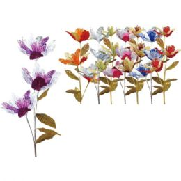 """48 Units of 45""""/3 Heads flower with Glitter - Artificial Flowers"""