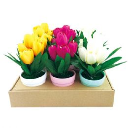 """36 Units of 7.5"""" Tulip in pot - Artificial Flowers"""