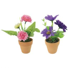 96 Units of Assorted flower in pot - Artificial Flowers