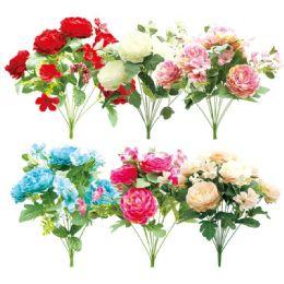 72 Units of Twelve Head Flower Assorted Color - Artificial Flowers