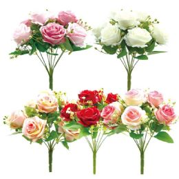 24 Units of Nine Head Flower Assorted Colors - Artificial Flowers