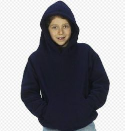 24 Units of Youth Hooded Pullover Sweatshirts In Navy - Boys Sweaters