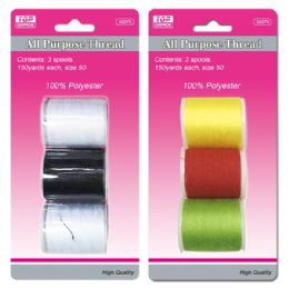 96 Units of Three Piece Thread Assorted Colors - Sewing Supplies